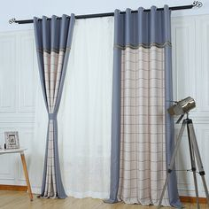 Thick linen and cotton blend fabric has good print craft, matching with plaid pattern in blue color. Plaid Curtains, Hanging Curtains, Panel, Plaid Pattern, Unique, Fabric, Cotton, Blue, Home Decor