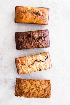 How To Make Whole Wheat Banana Bread - 4 Ways! These are 4 easy and delicious ways to upgrade your whole wheat banana bread! It's so easy to make with whole wheat flour, Greek yogurt, eggs and milk. Leave it plain or create one of the delicious flavors: Chocolate Chip, Double Chocolate, Blueberry Lemon or Cinnamon Crunch! Even better: You can whip it up in just one bowl - less dishes to do and more time to spend for what really matters: Your family.