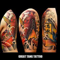 koi fish tattoo by Meng Xiangwei @greattangtattoo http://facebook.com/greattangtattoo