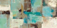 Teal and Aqua Reflections v - 48x24 by