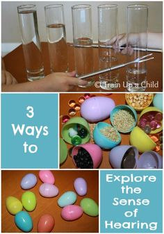 3 Ways to Explore the Sense of Hearing ~ Learn Play Imagine Water xylophone 5 Senses Preschool, 5 Senses Activities, Preschool Music, Kindergarten Science, Sensory Activities, Teaching Science, Science For Kids, Preschool Activities, Baby Sensory