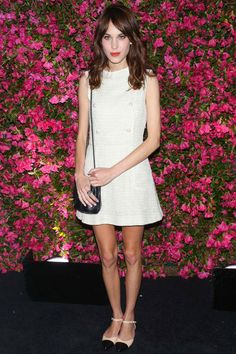 Alexa Chung wearing a white Chanel dress and flats #stylesaint