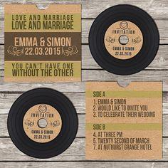 Invitation de mariage rétro Vintage CD vinyle par BeOurGuestDesigns
