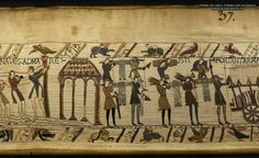 Bayeux Tapestry 37. These men carry arms to the ships and here they drag a cart with wine and arms