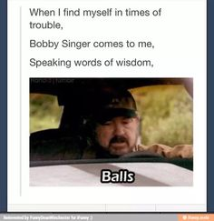 bobby singer, supernatural, funny pictures - Dump A Day Sam Dean, Sam Winchester, Winchester Brothers, Castiel, Crowley, Jensen Ackles, Funny Shit, Funny Stuff, Hilarious