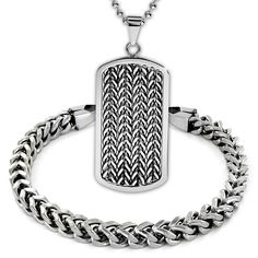 """Crucible Stainless Steel Bracelet 8.5"""" and Dog Tag Pendant 24"""" Set. 2 piece bracelet and necklace set crafted of stainless steel. The highly polished stainless steel bracelet has a length of 8.5"""" and a width of 6 mm, and is finished with a dog tag pendant which has a length of 2.3"""" and a width of 1"""" and is completed with a 24"""" ball chain. Packaged in a gift pouch this men's jewelry set makes a great holiday gift set. Arrives ready for gifting. Free gift pouch included. Shop with…"""