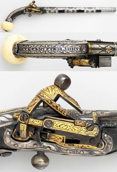 Caucasian  (possibly Georgia or Circassia) miquelet pistol, dated A.H. 1263/A.D. 1846 to 1847, swteel, silver, niello, leather, ivory, gold,  Length, 17 1/2 in. (44.45 cm), Met Museum, Bequest of George C. Stone, 1935.