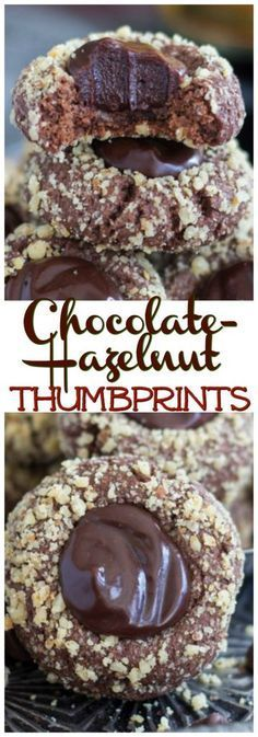 Buttery Chocolate-Hazelnut Thumbprints cookies, filled with a ridiculous semi-sweet chocolate ganache, spiked with Kahlua!