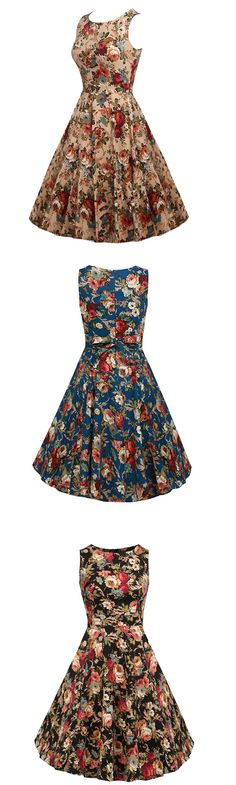 Women's Going out Party Holiday Vintage Street chic Swing Floral Round Neck Knee-length Dress
