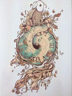 2016 RECIÉN LLEGADO de 21X15 CM Reloj de Moda Pegatinas Temporales Del Tatuaje Arte Corporal Temporal A Prueba de agua #143