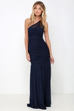Chariot Races Navy Blue One Shoulder Maxi Dress at Lulus.com!