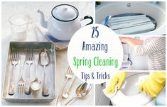 25 Amazing Spring Cleaning Tips and Tricks -- Awesome cleaning tips I've never heard of like tying a bag of vinegar to the shower head so it soaks clean, using rubbing alcohol and a kitchen brush to clean stains off a microfiber couch, and more!