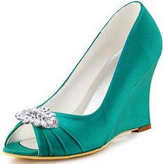 ElegantPark EP2009AW Women Wedges Heel Leaf Clips Peep Toe Pumps Satin Wedding Evening Dress Shoes Teal