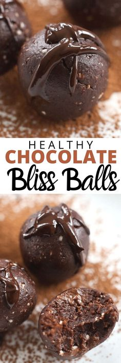 The BEST EVER healthy Chocolate Bliss Balls! These are a must try healthy treat. Great for snacks or just crushing those sweets cravings in a healthy way. We love these so much. Great healthy gluten free dairy free vegan recipe idea.
