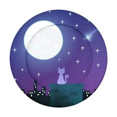 Cat Under The Moonlight Pack Of Small Button Covers A small cat sits quietly under the full moon's glow as it gazes out towards the city lights on the horizon. Above is a beautiful night sky filled with twinkling stars. One falls, l...