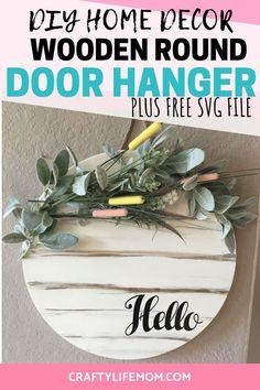 DIY Round Wooden Door Hanger Spring Home Decor