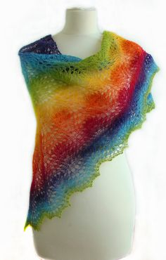 "Beautiful lace handknitted shawl in the colors of the ""rainbow"" MADE TO ORDER. $52.00, via Etsy."