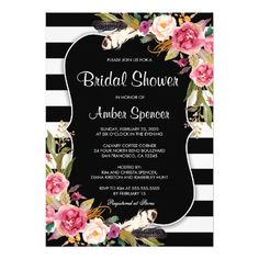 Floral Black White Stripe Boho Chic Bridal Shower Invitation With Watercolor Flowers.