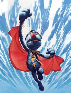 Super Grover by Alex Ross, art for a Palisades Toys Super Grover action figure
