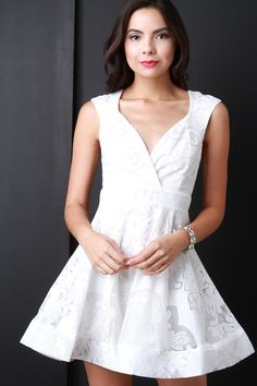 Sleeveless Lace Surplice Ruffle Dress