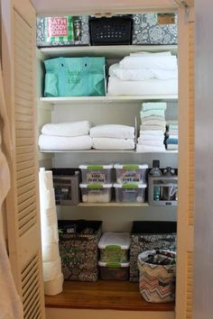 Linen closet organization with 31 bags Thirty One Organization, Linen Closet Organization, Bathroom Organization, Organization Hacks, Organizing Ideas, Bathroom Storage, Closet Storage, Bathroom Ideas, Organized Bathroom
