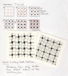 How to draw TWILE (STOIC) Online instructions for drawing CZT® Lesley Scott-Gilliland's Zentangle® pattern: Twile. Lesley unknowingly deconstructed the official tangle Stoic