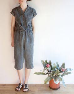 70's dark gray jumpsuit, stone wash Indian romper, capri legs playsuit, summer overalls