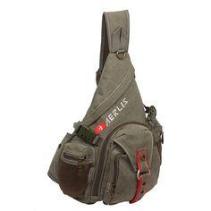 Multi-pocket large canvas shoulder bag single strap chest crossbody men Messenger bags Vintage outdoor travel triangle backpack
