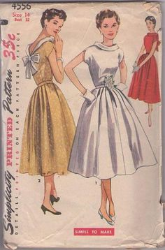 MOMSPatterns Vintage Sewing Patterns - Simplicity 4556 Vintage 50's Sewing Pattern UNREAL Notched Tulip Sleeve Dipped Bare Back Roll Collar Lucy Evening Dress, Full Flared Pleated Skirt, Red Carpet Formal Size 14
