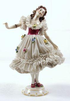 Porzellan Skulptur Figur figurine Rokoko Tänzerin Thüringen Volkstedt