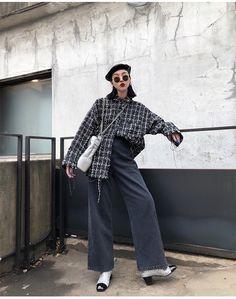 FF STUDIO定制 格子衬衫女冬2017新款小香风袖口毛边加厚长袖上衣-淘宝网