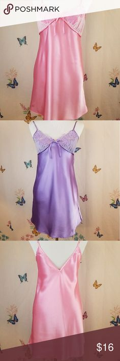 Jaclyn Smith Lingerie Bundle Two identical lingerie, one pink and one purple. Lace cups, adjustable spaghetti straps. 100% Polyester. The purple one has a tiny run (see pic). Jaclyn Smith Intimates & Sleepwear