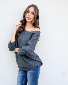 Need You Dolman Sweater - Charcoal -- VICI