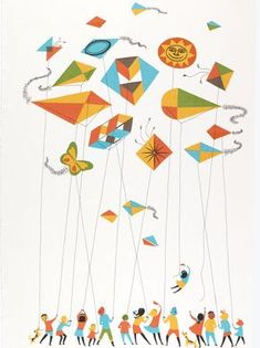 Textile, Kids and Kites, 1964 – Graffiti World Go Fly A Kite, Kite Flying, Kites For Kids, Art For Kids, Kite Tattoo, The Kite Runner, Kite Designs, Graffiti Cartoons, Festival Posters