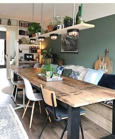 Could we do the table against a wall like this and have a living space too? Home sweet home Room Design, Home, Dining Room Design, Living Spaces, House Interior, Home Deco, Home Kitchens, Dining Room Table, Kitchen Design