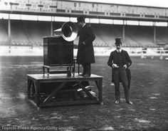 These two gentleman played this giant phonograph to an empty stadium in 1908.