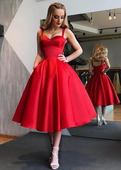 1f0b1082748eb Red Straps Backless Stain Pleated Homecoming Dresses with Pocket
