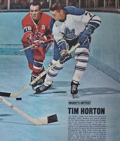 Tim Horton and Henri Richard Toronto Maple Leafs Montreal Canadiens NHL Hockey Montreal Canadiens, Hockey Games, Ice Hockey, Henri Richard, Hockey Boards, Hockey Pictures, Tim Hortons, Canadian History, National Hockey League