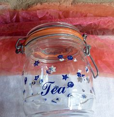 Vintage French Mason Jar - Blue White Flowers, Tea, Clear Glass - 1970's - Fabulous! by YPSA on Etsy
