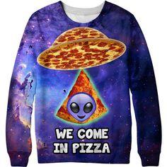 Pizza Aliens Sweatshirt (96 AUD) ❤ liked on Polyvore featuring tops, hoodies, sweatshirts, black, women's clothing, sweatshirt hoodies, black top, black sweat shirt, black sweatshirt and checkered top
