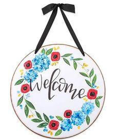 Painted Signs, Wooden Signs, Welcome Door, Canvas Designs, Door Wall, Hanging Signs, Exterior Doors, Interior Walls, Pretty Flowers