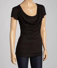 Love this Black Drape Scoop Neck Top on #zulily! #zulilyfinds