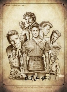 "Burt Lancaster,illustration from the book ""Hombres de Hollywood"".Nacho Castro.Diábolo ediciones"