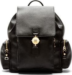 Versace - Black Grained Leather Medusa Emblem Backpack