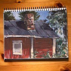 Mummolasta ulkorakennuksen takaa.by Petri Fills  #painting #sketchbook