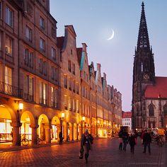munster, germany- marktplatz evening.