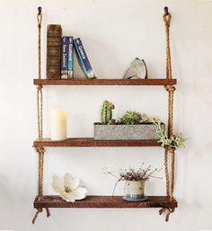 Diy Hanging Shelves For Simple Storage And Beautiful Decor Ideas Hanging Wood Shelves, Wooden Bathroom Shelves, Suspended Shelves, Rope Shelves, Reclaimed Wood Shelves, Hanging Rope, Wooden Shelves, Rustic Shelving, Wall Shelving
