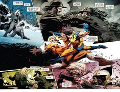 I love the idea of Sabretooth trashing Wolverine senseless through the ages everytime the latter has a birthday. From – Weapon X Vol. Wolverine Old Man Logan, Wolverine Art, Comic Book Characters, Marvel Characters, Comic Books, Comic Art, Sabretooth Marvel, Xmen, Avengers Comics