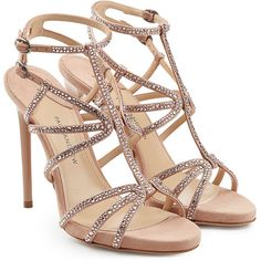 Paul Andrew Embellished Suede Sandals (€594) ❤ liked on Polyvore featuring shoes, sandals, heels, sapatos, high heels, pink, pink heeled sandals, high heel shoes, thin-strap sandals and strap heel sandals