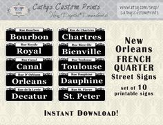 10 Printable French Quarter New Orleans Street Signs - just in time for Mardi Gras!